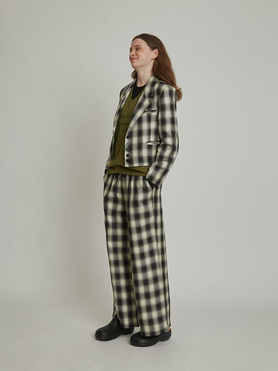 String Wide Pants (black check)