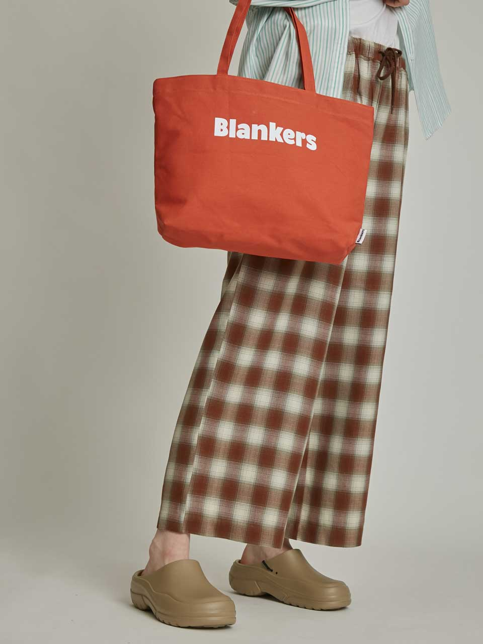 String Wide Pants (brown check)